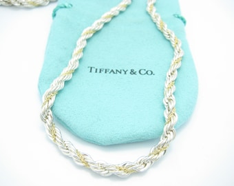 a1c0dd7aff6e Tiffany   Co. Sterling Silver 18K Yellow Gold 5mm Rope Chain Necklace 24