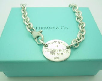 077639e8b Please Return To Tiffany & Co. Sterling Silver Oval Tag Choker Necklace 15  1/2