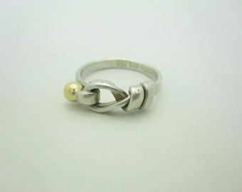 7edfb3807 Tiffany & Co. 18K Yellow Gold and Sterling Silver Hook and Eye Ring Size 6