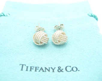 05c3e8ad0 Tiffany & Co. Sterling Silver Twist Knot Stud Earrings - Pouch