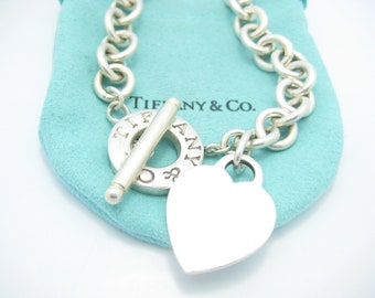 0f62ff375 Tiffany & Co. Sterling Silver Heart Tag Toggle Necklace 16