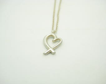 e7ee6903c Tiffany & Co. Sterling Silver Paloma Picasso Small Loving Heart Pendant  Necklace 16