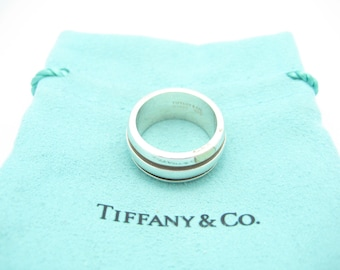 6111f5af7fb Tiffany & Co. Sterling Silver Atlas Collection Groove Stripe Wide Band Ring  Size 6 - Pouch