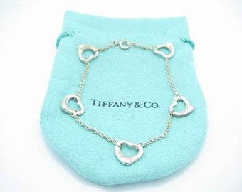 d15eb696e Tiffany & Co. Sterling Silver Elsa Peretti Five Open Heart Bracelet 7