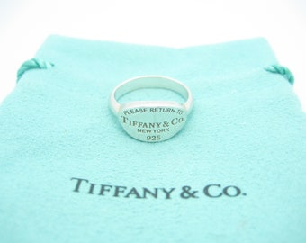 ebdd5cb2a Please Return To Tiffany & Co. Sterling Silver Oval Signet Ring Size 6 -  Pouch