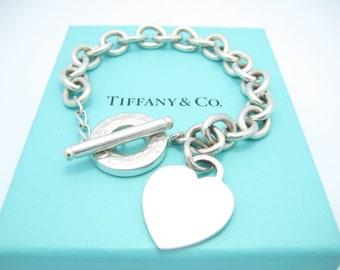 adb547be33db Tiffany   Co. Sterling Silver Heart Tag Toggle Bracelet 8