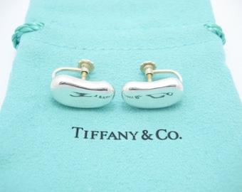 a647b1796 Vintage Tiffany & Co. Sterling Silver Elsa Peretti Large Bean Screw Back  Earrings - Pouch
