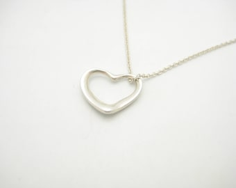 Tiffany open heart etsy vintage tiffany co sterling silver elsa peretti small open heart pendant necklace 16 aloadofball Choice Image