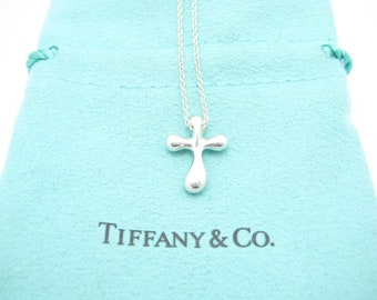 cc3b819a4 Tiffany & Co. Sterling Silver Elsa Peretti Cross Pendant Necklace 16