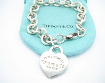 9fe633476 Please Return To Tiffany & Co. Sterling Silver Heart Tag Bracelet 7 1/4