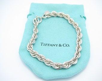 f7726b662319 Tiffany   Co. Sterling Silver Rope Chain Bracelet 7 1 2