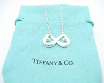 926a20c88 Tiffany & Co. Sterling Silver Paloma Picasso Double Loving Heart Pendant  Necklace 16