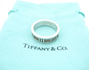 02f762e793e Tiffany & Co. Sterling Silver Atlas Collection Narrow Band Ring Size 7 1/4  - Pouch