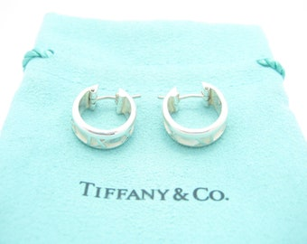 fd78fa255 Tiffany & Co. Sterling Silver Italy Small Atlas Collection Hoop Huggie  Earrings - Pouch
