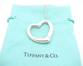 322ac389a Tiffany & Co. Sterling Silver Elsa Peretti Large Open Heart Pendant  Necklace 16