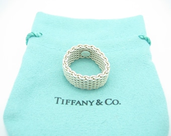 adb6f73e1 Tiffany & Co. Sterling Silver Somerset Mesh Band Ring Size 7 1/2 - Pouch