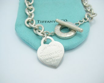 48dd3d54a Please Return To Tiffany & Co. Sterling Silver Heart Tag Toggle Necklace  16