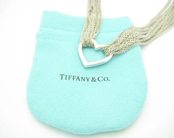 7dfb3d6f4 Tiffany & Co. Sterling Silver Heart Multi Strand Mesh Toggle Necklace 15  1/2