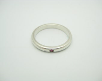 Tiffany & Co. Sterling Silver Elsa Peretti Red Ruby Stacking Ring Size 6 1/2