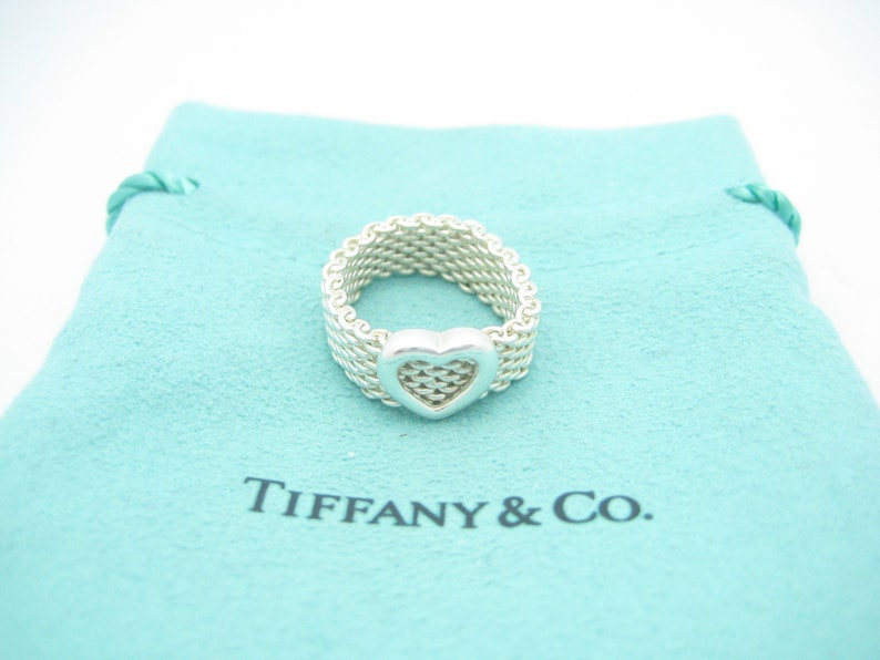 1a7bbfcfb7a8c Tiffany & Co. Sterling Silver Somerset Heart Mesh Band Ring Size 4 1/2 -  Pouch