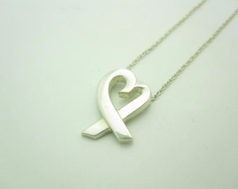 """Tiffany & Co. Sterling Silver Small Paloma Picasso Loving Heart Necklace 18"""""""