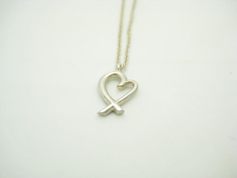 01f6319e1 Tiffany & Co. Sterling Silver Mini Paloma Picasso Loving Heart Pendant  Necklace ... Tiffany & Co. Sterling Silver Mini Paloma Picasso Loving Heart  Pendant ...