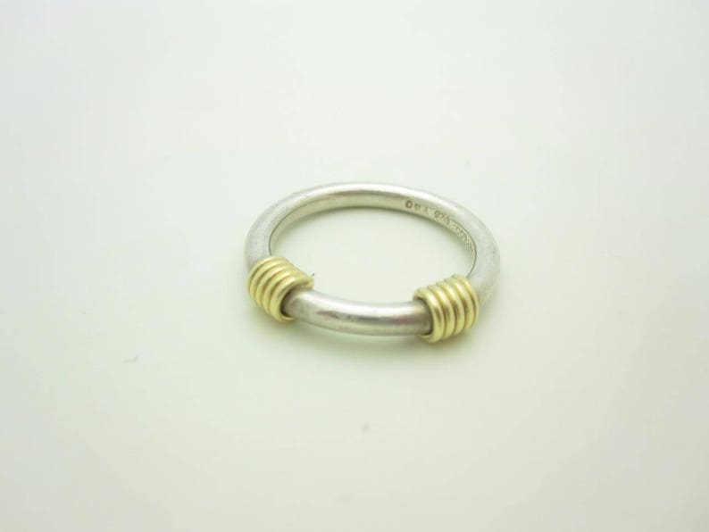 73d059f32 Tiffany & Co. 18K Yellow Gold and Sterling Silver Coil Ring   Etsy