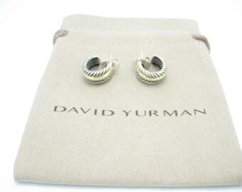 David Yurman Sterling Silver & 14k Gold Cable Thoroughbred Hoop Earrings