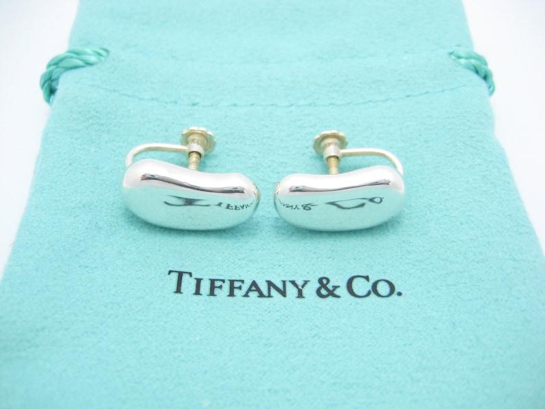 ecd7c06d4f182 Vintage Tiffany & Co. Sterling Silver Elsa Peretti Large Bean Screw Back  Earrings - Pouch