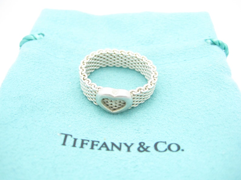 01b1994d259 Tiffany   Co. Sterling Silver Somerset Heart Mesh Band Ring