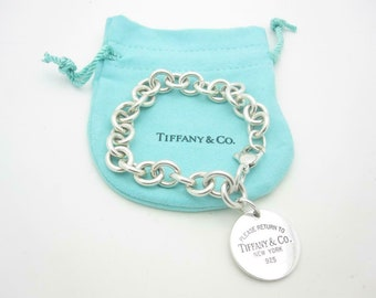 """Please Return To Tiffany & Co. Sterling Silver Round Tag Bracelet 7 1/2"""" - Pouch - A"""