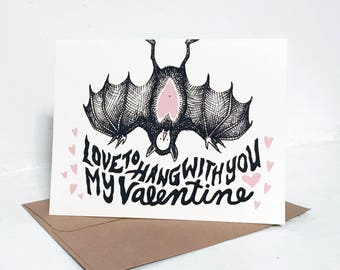 Cute Bat Valentine's Day Card