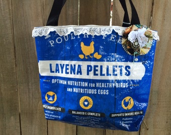 Recycled Medium Lined Market Tote Purse Bag Feed sack - Hen