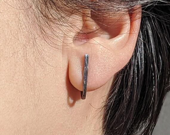 Hugger Earrings, Minimalist Oxidized Silver Post Earrings, J Earrings, Modern Black Stud Earrings