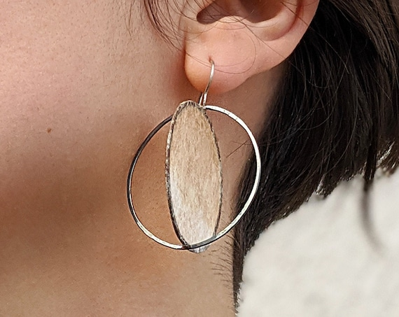 Paper and Silver Statement Earrings Large Modern Sculptural Earrings