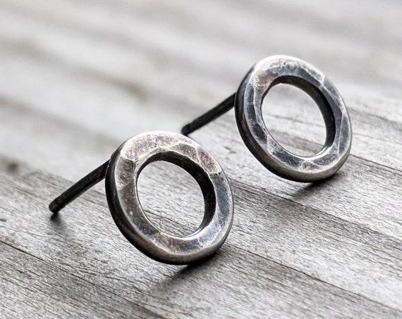 Minimalist Circle Stud Earrings, Tiny Black Oxidized Sterling Silver Earrings