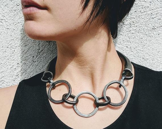 Torc Inspired Necklace, Handforged Steel Punk Bib Necklace, Black Avant Garde Statement Necklace