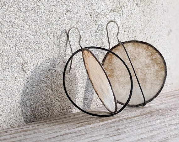 Oxidized Silver Statement Earrings with Paper, Modern Sculptural Earrings, Large Reclaimed Coffee Filter Circle Earrings