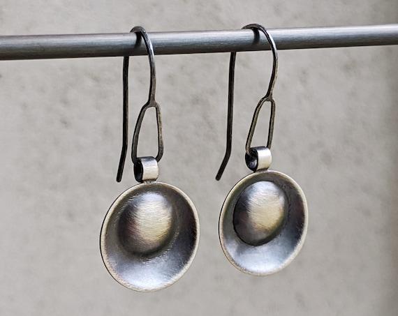 Oxidized Silver Circle Earrings