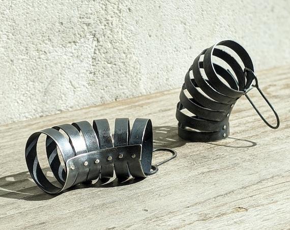 Modern Black Oxidized Sterling Silver Statement Earrings