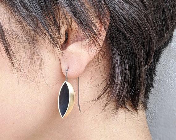 Minimalist Brass Earrings, Black Oxidized and Gold Earrings, Sculptural Earrings, Sophisticated Modernist Earrings