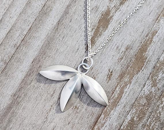 Silver Pendant Necklace, Floral Pendant