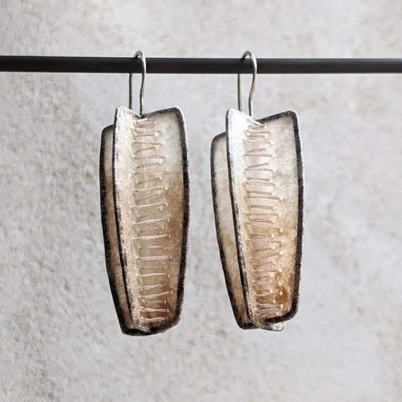 Coffee Filter Earrings Sustainable Jewelry Oxidized Silver Modern Geometric Statement Earrings