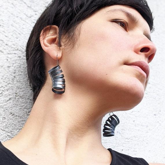 Black Modernist Oxidized Sterling Silver Earrings