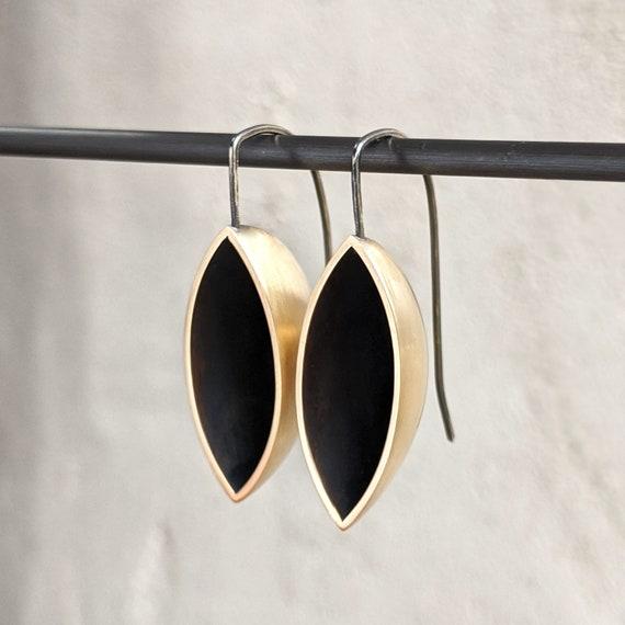 Modern Brass Drop Earrings, Black Oxidized and Gold Dangle Earrings,
