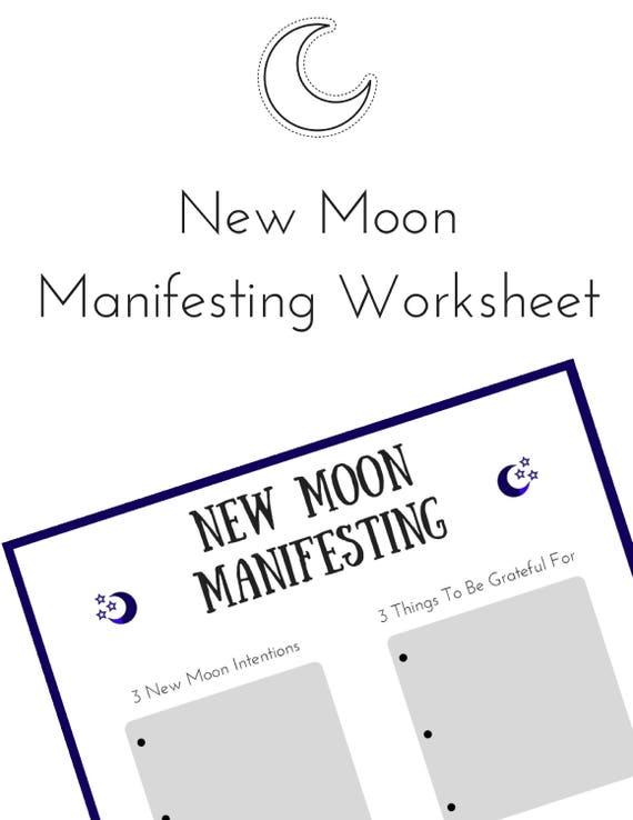 New Moon Manifesting Worksheet Law Of Attraction Worksheet Etsy