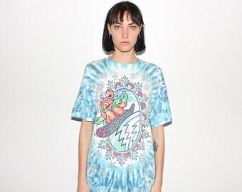 90s Grateful Dead Snowboarding Bear Tie Dye 1994 Tour Concert T Shirt