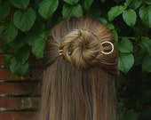Circle hair pin minimalist bun holder hammered brass hair fork copper hair accessories modern hair jewelry gift for her hair fashion pins