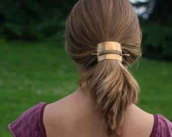 Hair cuff brass hair slide hair stick copper hair barrette minimalist hair accessories minimalist jewelry geometric bun holder gift for her