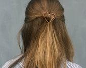 Heart hair clip love hair barrette heart hair accessory small hair clip brass hair jewelry bridal hair pin bridesmaid gift bridal hair clip